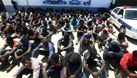 Illegal migrants, who were found by Libyan security forces