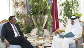 Ethiopian Foreign Minister Dr Workneh Gebeyehu during the meeting with His Highness the Amir at his