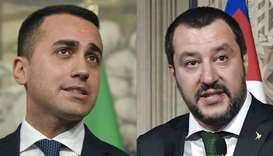 Anti-establishment Five Star Movement (M5S) leader Luigi Di Maio (L) and Italian President Sergio Ma