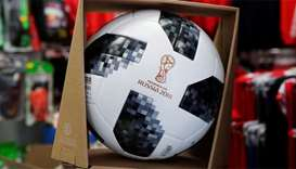 The official 2018 Fifa World Cup Russia ball is on display at Fan-Shop Strobl football store