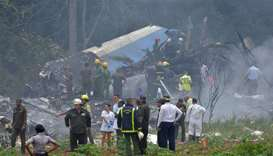 Picture taken at the scene of the accident after a Cubana de Aviacion aircraft crashed after taking