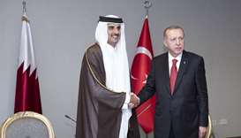 His Highness the Amir Sheikh Tamim bin Hamad al-Thani met in Istanbul with Turkish President Recep T