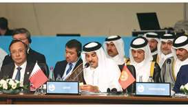 His Highness the Amir Sheikh Tamim bin Hamad al-Thani addressing the session of the Emergency Summit
