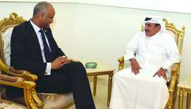 HE the Minister of Transport and Communications Jassim Seif Ahmed al-Sulaiti with Canadian Minister