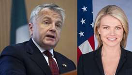US Deputy Secretary of State John Sullivan and US State Department spokeswoman Heather Nauert