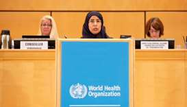 HE the Minister of Public Health Dr Hanan Mohamed al-Kuwari addressing the 71st session of the World