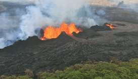 A US Geological Survey handout photo of the fissure complex as it remains active in Kilauea Volcano'