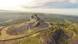 A view of the Jatayu sculpture.