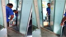 Screenshots from video that shows two railway tea vendors filling their cans with toilet