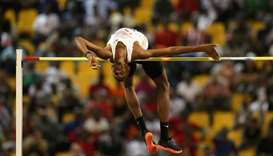 Qatar's Mutaz Essa Barshim in action during the men's high jump
