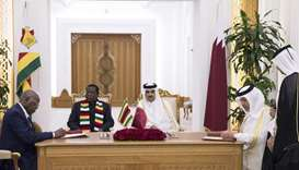 His Highness the Amir Sheikh Tamim bin Hamad al-Thani and Zimbabwean President, Emmerson Mnangagwa,