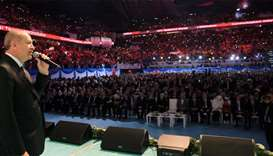 Turkish President Recep Tayyip Erdogan addressing his supporters during a rally in Istanbul