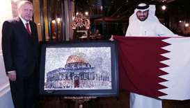 Qatari artist paintings gift to President Erdogan