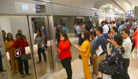 Big crowds of commuters seen as Doha Metro resumed service after weekend break