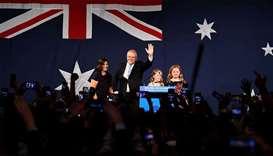 Australia's Prime Minister Scott Morrison with wife Jenny, children Abbey and Lily after winning the