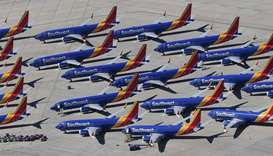 Southwest Airlines Boeing 737 MAX aircraft are parked on the tarmac after being grounded, at the Sou