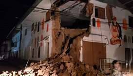 A house damaged by an 8.0 earthquake in Yurimaguas, Peru