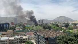 Smoke rises from the site of a blast in Kabul