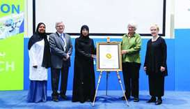 HE the Minister of Public Health and HMC managing director Dr Hanan Mohamed al-Kuwari and other offi