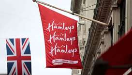 A flag flies outside the Hamleys toy shop in London