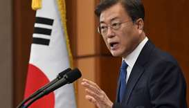 South Korean President Moon Jae-in speaks on the occasion of the third anniversary of his inaugurati