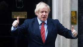 Britain's Prime Minister Boris Johnson reacts outside 10 Downing Street during the Clap for our Care