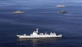 A view of warships during joint Iran-Russia-China naval drills in the Indian Ocean and the Gulf of O