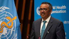 Tedros Adhanom Ghebreyesus, director general of World Health Organization (WHO) attends the virtual