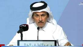 Dr Abdullatif al-Khal addressing the press conference on Qatar TV Wednesday
