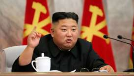 North Korean leader Kim Jong Un speaks during the conference of the Central Military Committee of th