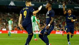 In this March 8, 2020, picture, Real Madrid's Karim Benzema celebrates scoring their first goal duri