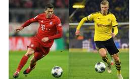 Bundesliga's record-breaking strikers Bayern Munich's Robert Lewandowski (left) and Dortmund's Erlin