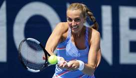 Petra Kvitova in action during her match against Barbora Krejcikova at the All-Czech tennis tourname