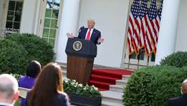 US President Donald Trump speaks at an event in the Rose Garden at the White House