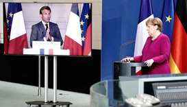 FILE PHOTO: German Chancellor Angela Merkel holds a joint video news conference with French Presiden