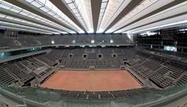 General view of the renovated Philippe-Chatrier central tennis court with its new retractable roof c