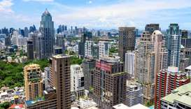 A general view shows downtown Bangkok, Thailand