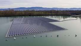 A floating solar panel farm in Germany. Scientists see massive new solar investments in Europe not o