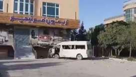 An image grab from a video posted online that shows the Khurshid TV vehicle damaged in the explosion