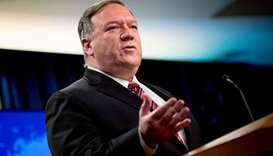 US Secretary of State Mike Pompeo pauses while speaking at a news conference at the State Department