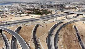 An aerial View of Mesaimeer Interchange.