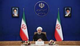 President Hassan Rouhani speaking at a televised video conference meeting of the Non-Aligned Movemen