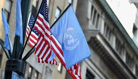 Flags of the United Nations and the United States of America are seen in New York City. File picture