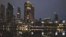 Crown Resorts entertainment complex at night in Melbourne. A bidding war erupted for Crown with riva