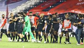 Al Rayyan players celebrate their win over Al Duhail in the Amir Cup semi-final. PICTURE: Jayan Orma