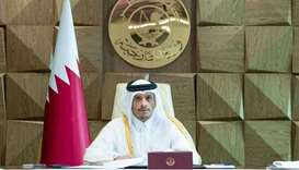 HE Sheikh Mohamed bin Abdulrahman al-Thani chairing the extraordinary session of the Arab League on