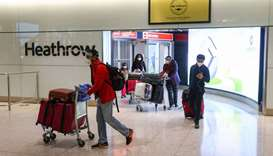 Travellers arrive at the London Heathrow Airport. Bio-safety, vaccines, testing, standards and trave