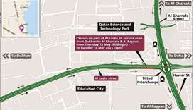 Closure on part of Al Luqta Street service road