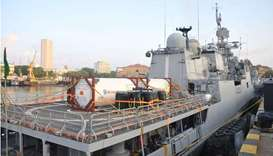 'INS Tarkash' upon its arrival in Mumbai, India.
