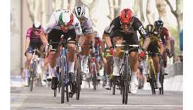 Lotto Soudal rider Caleb Ewan (right) of Australia wins Giro d'Italia's Stage 5 ahead of Qhubeka Ass